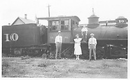 RGS 2-8-0 #10 at Durango.  Notice misaligned numbers on tender and dome.<br /> RGS  Durango, CO  1933