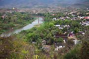 Luang Prabang, Laos with the Nam Khan River seen from Mount Phousi.