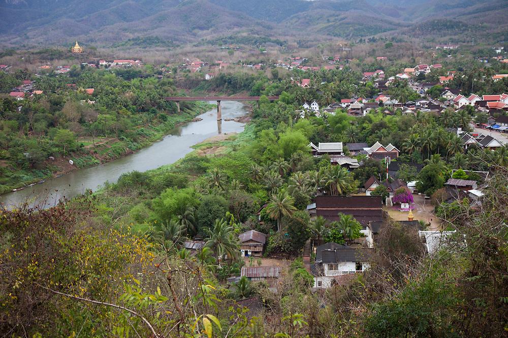 Luang Prabang, Laos with the Nam Khan River seen from Mount Phousi.