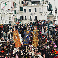 VENICE, ITALY - FEBRUARY 26:  Large crowd attend the Festa delle Marie on February 26, 2011 in Venice, Italy.  The Venice Carnival, one of the largest and most important in Italy, attracts thousands of people from around the world each year. The  theme for this year's carnival is 'Ottocento', a nineteenth century evocation, and will run from February 19 till March 8.