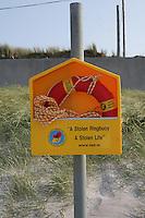 Ringbuoy on Aran Island beach County Galway Ireland