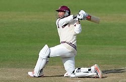 Somerset's Peter Trego sweeps the ball. - Photo mandatory by-line: Harry Trump/JMP - Mobile: 07966 386802 - 06/07/15 - SPORT - CRICKET - LVCC - County Championship Division One - Somerset v Sussex- Day Two - The County Ground, Taunton, England.