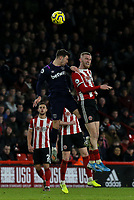 Sheffield United's Oliver McBurnie battles with West Ham United's Aaron Cresswell <br /> <br /> Photographer Rich Linley/CameraSport<br /> <br /> The Premier League - Sheffield United v West Ham United - Friday 10th January 2020 - Bramall Lane - Sheffield <br /> <br /> World Copyright © 2020 CameraSport. All rights reserved. 43 Linden Ave. Countesthorpe. Leicester. England. LE8 5PG - Tel: +44 (0) 116 277 4147 - admin@camerasport.com - www.camerasport.com