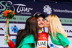 Simone Consonni of UAE celebrates with hostesses at the ceremony after 1st Stage of 25th Tour de Slovenie 2018 cycling race between Lendava and Murska Sobota (159 km), on June 13, 2018 in  Slovenia. Photo by Matic Klansek Velej / Sportida
