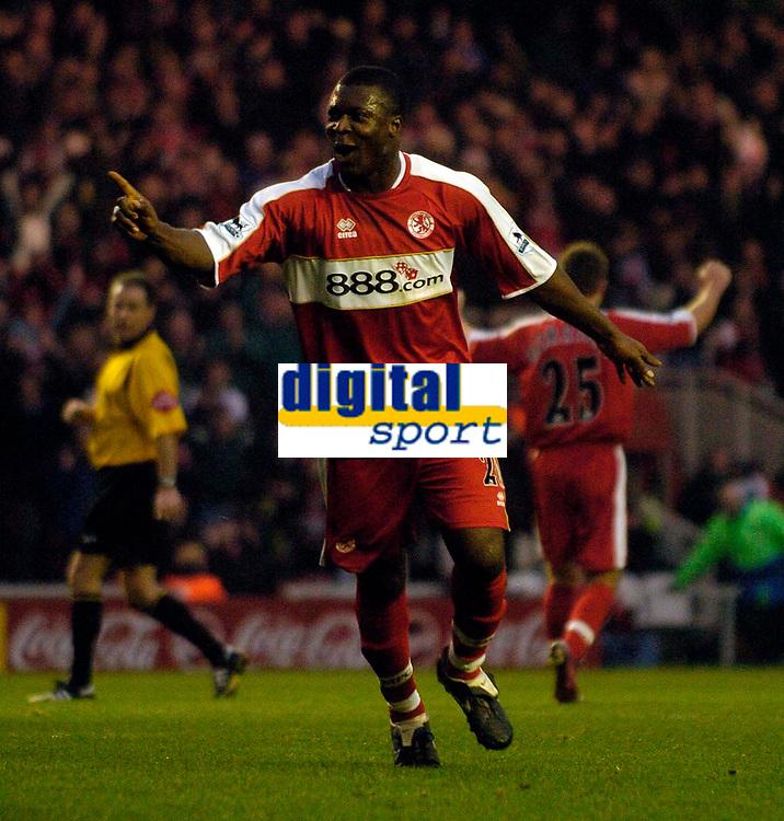 Photo: Jed Wee.<br />Middlesbrough v Charlton Athletic. The Barclays Premiership. 23/12/2006.<br /><br />Middlesbrough's Yakubu celebrates after scoring.