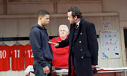 The Red Lion <br /> by Patrick Marber <br /> at the Dorfman Theatre, NT, Southbank, London, Great Britain <br /> press photocall <br /> 9th June 2015 <br /> Calvin Demba as Jordan <br /> Peter Wight as Yates<br /> Daniel Mays as Kidd<br /> <br /> <br /> <br /> <br /> Photograph by Elliott Franks <br /> Image licensed to Elliott Franks Photography Services