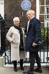 © Licensed to London News Pictures. 27/04/2017. London, UK. Dame Judi Dench and SIR IAN MCKELLEN unveil an English Heritage Blue Plaque at the London home of Sir John Gielgud where he lived for 31 years. Photo credit: Ray Tang/LNP