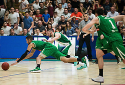 Devin Michael Oliver of Petrol Olimpija fighting for a ball with Tim Osolnik of Krka during basketball match between KK Krka Novo mesto and  KK Petrol Olimpija in 4th Final game of Liga Nova KBM za prvaka 2017/18, on May 27, 2018 in Sports hall Leona Stuklja, Novo mesto, Slovenia. Photo by Vid Ponikvar / Sportida