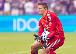 April 8, 2018 - Orlando, FL, U.S. - ORLANDO, FL - APRIL 08: Orlando City goalkeeper Joseph Bendik (1) makes a major save assuring the winn for Orlando City during the MLS soccer match between the Orlando City FC and the Portland Timbers at Orlando City SC on April 8, 2018 at Orlando City Stadium in Orlando, FL. (Photo by Andrew Bershaw/Icon Sportswire) (Credit Image: © Andrew Bershaw/Icon SMI via ZUMA Press)