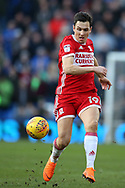 Stewart Downing of Middlesbrough in action . EFL Skybet championship match, Cardiff city v Middlesbrough at the Cardiff city Stadium in Cardiff, South Wales on Saturday 17th February 2018.<br /> pic by Andrew Orchard, Andrew Orchard sports photography.