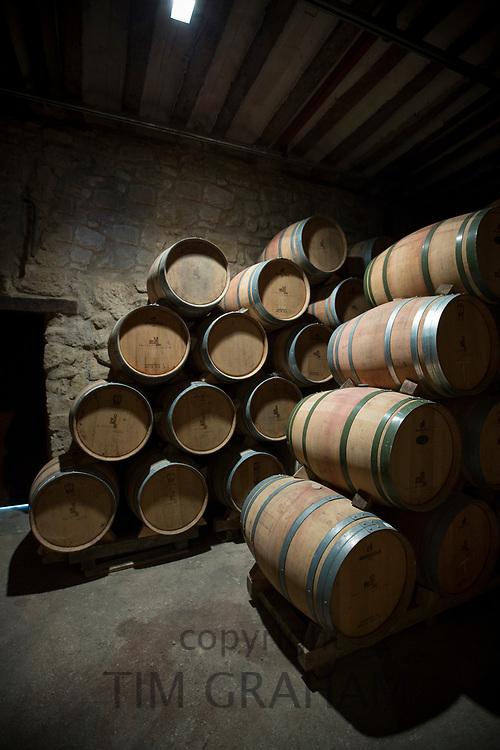 Rioja wine in American oak barrels in cave at Bodegas Agricola Bastida  in Rioja-Alavesa area of Basque country, Spain