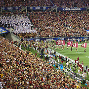 The Florida State Seminoles enter the field during an NCAA football game between the Ole Miss Rebels and the Florida State Seminoles at Camping World Stadium on September 5, 2016 in Orlando, Florida. (Alex Menendez via AP)