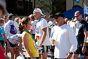 An image of the fun at the Quad Cities Marathon finish-line party, a good time for all and a chance to swap stories.