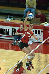12 October 2006: Jenna Harrison lifts off to make a strike against the Redbirds. The Redbirds of Illinois State beat the Braves of Bradley 3 games to 1 in a best of 5 match. The match took place at Redbird Arena on the campus of Illinois State University in Normal Illinois.<br />