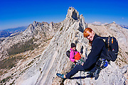 Climbers on the classic traverse of Matthes Crest, Yosemite National Park, California