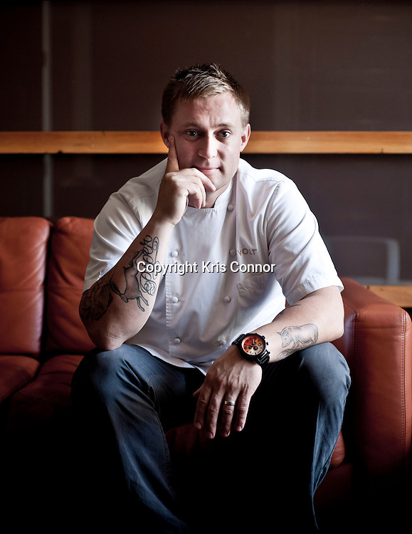 Chef Bryan Voltaggio poses for a portrait at Volt Restaurant in Frederick, Md. on July 12th, 2012. Photo by Kris Connor for The Daily