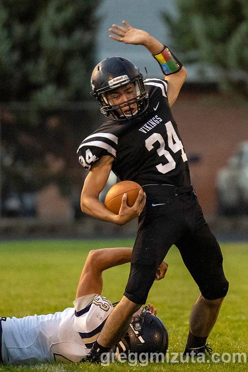 Nathan Kimball. Vale High School vs La Pine High School football game at Frank Hawley Stadium in Vale, Oregon on September 10, 2021.
