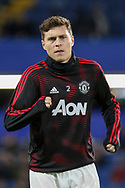 Manchester United Defender Victor Lindelof warm up during the The FA Cup 5th round match between Chelsea and Manchester United at Stamford Bridge, London, England on 18 February 2019.