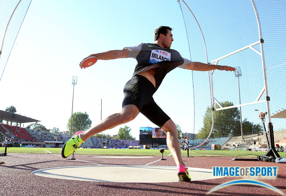 Aug 25, 2016; Lausanne, Switzerland; Philip Milanov (BEL) wins the discus at 215-3  (65.61m) during the 2016 Athletissima in an IAAF Diamond League meeting at Stade Olympique de la Pontaise. Photo by Jiro Mochizuki
