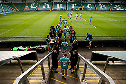 Worcester Warriors walk out at Franklin's Gardens for the preseason friendly against Northampton Saints ahead of the Gallagher Premiership Rugby 2020/21 season - Mandatory by-line: Robbie Stephenson/JMP - 13/11/2020 - RUGBY - Franklin's Gardens - Northampton, England - Northampton Saints v Worcester Warriors - Pre-season friendly