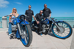 Kelly Hedgepeth and Chris Eder of Misfit Industries on the boardwalk with their Geico bikes and the Misfit team after their public unveiling during the Harley-Davidson Grand Opening Party at the Daytona Beach Bandshell. Daytona Bike Week 75th Anniversary event. FL, USA. Monday March 7, 2016.  Photography ©2016 Michael Lichter.