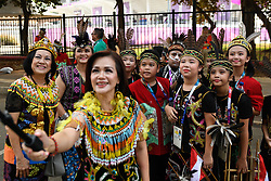 JAKARTA, Aug. 18, 2018  Performers take selfie before the opening ceremony of the 18th Asian Games in Jakarta, Indonesia, Aug. 18, 2018. The opening ceremony of the 18th Asian Games will be held here on the evening of Aug. 18. (Credit Image: © Huang Zongzhi/Xinhua via ZUMA Wire)
