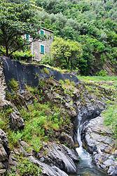 Creek, waterfall,Vernazza, Cinque Terra, Italy