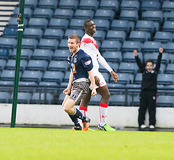 Queen's Park Gregor Forthingham cele scoring their goal. half time : Queen's Park 1 v 1 Airdrie, Scottish Football League Division One game played 7/1/2017 at Hampden.