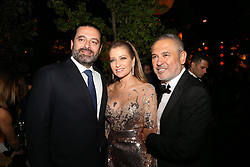 L-R : Lebanese Prime Minister Saad Hariri, Claudine Saab, Elie Saab seen at Elie Saab Jr (Fashion designer Elie Saab's son) and Christina Mourad wedding, in Faqra, Lebanon on July 19, 2019. The wedding is among the most incredible weddings of 2019, included four wedding outfits, over a million sequins and 1,200 guest. Photo by Balkis Press/ABACAPRESS.COM