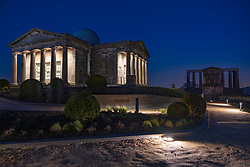 Night view of The Collective centre for contemporary arts at the former City Observatory on Calton Hill, Edinburgh, Scotland UK ++ Editorial Use Only ++