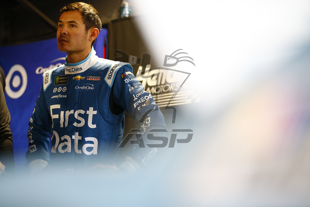 October 28, 2017 - Martinsville, Virginia, USA: Kyle Larson (42) hangs out in the garage during practice for the First Data 500 at Martinsville Speedway in Martinsville, Virginia.