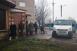 The MSF mobile clinic parks in a neighbourhood of Debaltsevo and prepares to open its doors to the public for medical consultations.