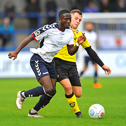 TELFORD COPYRIGHT MIKE SHERIDAN 13/10/2018 - Daniel Udoh of AFC Telford is tackled during the Vanarama National League North fixture between AFC Telford United and Chorley