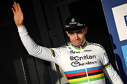 February 10, 2018 - Lille, BELGIUM - Belgian world champion Wout Van Aert pictured on the podium after the men's elite race of the Krawatencross cyclocross in Lille, the eighth and last stage in the DVV Verzekeringen Trofee Cyclocross competition, Saturday 10 February 2018. BELGA PHOTO DAVID STOCKMAN (Credit Image: © David Stockman/Belga via ZUMA Press)