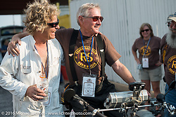 Dan Emmerson and Norm Nelson at the finish line at the end of day-1 of the Motorcycle Cannonball Race of the Century. Stage-1 from Atlantic City, NJ to York, PA. USA. Saturday September 10, 2016. Photography ©2016 Michael Lichter.