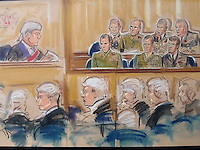 Bulford, Wiltshire.<br /> A court martial, the first of its kind. Unidentified British Marines stand accused of breaking the Geneva Convention and shooting dead an Iraqi troop in 2001<br /> Here, Judge looks to jury panel on right . 7 military jurors