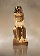 Seated Ancient Egyptian figure of Sebeknihotep. 1640-100 BC . Neues Reich Museum Berlin Cat No: AM 12546. .<br /> <br /> If you prefer to buy from our ALAMY PHOTO LIBRARY  Collection visit : https://www.alamy.com/portfolio/paul-williams-funkystock/ancient-egyptian-art-artefacts.html  . Type -   Neues    - into the LOWER SEARCH WITHIN GALLERY box. Refine search by adding background colour, subject etc<br /> <br /> Visit our ANCIENT WORLD PHOTO COLLECTIONS for more photos to download or buy as wall art prints https://funkystock.photoshelter.com/gallery-collection/Ancient-World-Art-Antiquities-Historic-Sites-Pictures-Images-of/C00006u26yqSkDOM