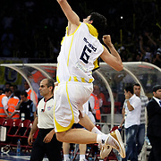 Fenerbahce Ulker's Mirsad TURKCAN celebrate victory during their Turkish Basketball league Play Off Final Sixth Leg match Fenerbahce Ulker between Efes Pilsen at the Abdi Ipekci Arena in Istanbul Turkey on Wednesday 02 June 2010. Photo by Aykut AKICI/TURKPIX
