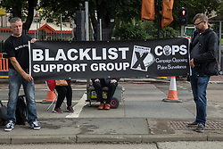 Members of the Blacklist Support Group hold a banner outside the Euston construction site for the HS2 high-speed rail link in solidarity with members of the Unite trade union protesting regarding trade union access to construction workers building tunnel sections for the project on 6th August 2021 in London, United Kingdom. Unite claims that HS2's joint venture contractor SCS, formed by Skanska, Costain and Strabag, has been hindering 'meaningful' trade union access to HS2 construction workers in contravention of the HS2 agreement.