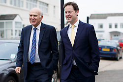 © licensed to London News Pictures. London, UK 02/12/2013. Business Secretary Vince Cable and Deputy Prime Minister Nick Clegg walking in west London before visiting a small fashion studio to meet with small business owners ahead of the autumn statement. Photo credit: Tolga Akmen/LNP