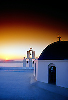 Sunset, village of Firostefani, island of Santorini, the Cyclades, Greece