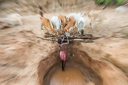 "Passion Pictures crew film Samburu warriors digging wells for their cattle in Sara Conservancy in Northern Kenya for ""Earth in the Age of Man."" (Photo by Ami Vitale)"