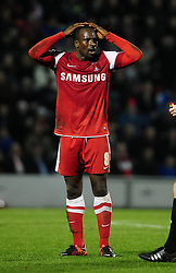 Leyton Orient's Anthony Griffith's reaction to being sent off - Photo mandatory by-line: Dougie Allward/JMP - Tel: Mobile: 07966 386802 09/01/2013 - SPORT - FOOTBALL - Matchroom Stadium - London -  Leyton Orient v Yeovil Town - Johnstone's Paint Trophy Southern area semi-final.