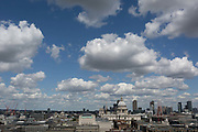 London skyline including St. Pauls Cathedral, seen from the top floor viewing terrace of Tate Modern on the Southbank, on 14th May 2017, in London, England.