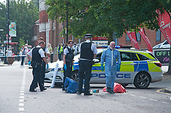 ©Licensed to London News Pictures 21/08/2020             Plumstead, UK. Parts of Plumstead high street in South East London are closed this morning after a man was fatally stabbed to death. It is believed the man was stabbed on Heron Hill a short distance away then transferred to Plumstead for the air ambulance. Photo credit: Grant Falvey/LNP