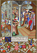 Charles The Bold (1433-77) Duke of Burgundy from 1467, enthroned and surrounded by his nobles and counsellors. In illuminated border, a woman plays a lute and a man the bagpipes. Chromolithograph from a 15th century miniature.