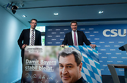 October 1, 2018 - Munich, Bavaria, Germany - The secretary general of the Christian Social Union Markus Blume and the Bavarian Ministerpraesident (governor) of Bavaria and lead candidate Markus Soeder presented the new election poster for the Bavarian State Elections taking place on October 14. (Credit Image: © Alexander Pohl/NurPhoto/ZUMA Press)