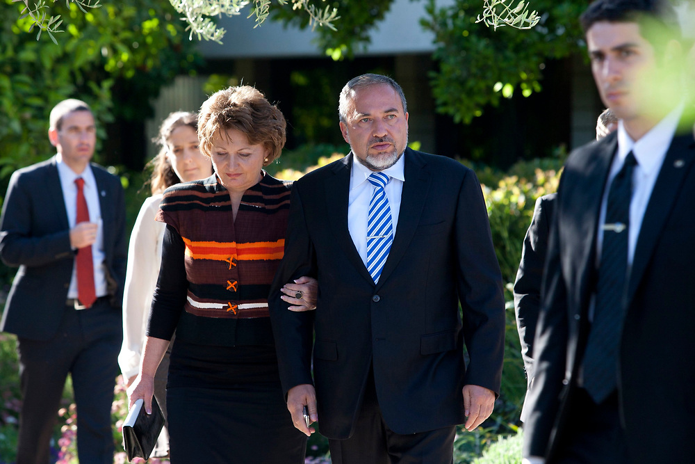 Israel's Foreign Minister Avigdor Lieberman (2nd R) and his wife Ella are seen at the President's Residence in Jerusalem on May 10, 2011, during to a traditional reception for members of the diplomatic corps in Israel, part of the celebrations for Israel's Independence Day marking the 63rd anniversary of the creation of the state.