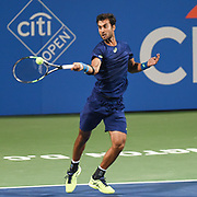 YUKI BHAMBRI hits a forehand during his second round match at the Citi Open at the Rock Creek Park Tennis Center in Washington, D.C.