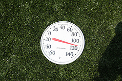 31 May 2010: Duke Blue Devils men's lacrosse before playing the Notre Dame Irish in the NCAA Lacrosse Championship at M&T Bank Stadium in Baltimore, MD.  The Blue Devils would go on that day to win the national title. Pictured is a themometer that shows 111 degrees coming off the field.